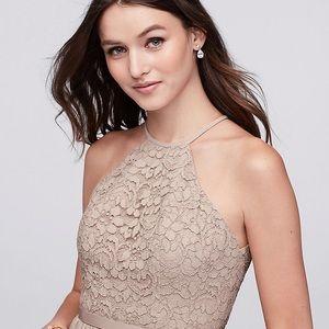 abe20d7b82 David s Bridal Dresses - Open-Back Lace and Mesh Bridesmaid Dress